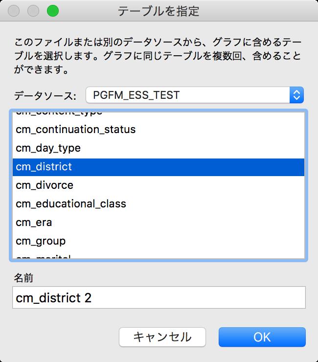 PostgreSQLのテーブルを選択