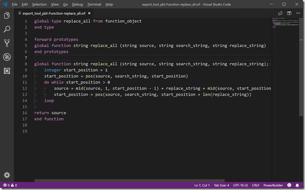 Visual Studio Codeにpowerbuilder syntaxプラグインを導入した状態での表示例