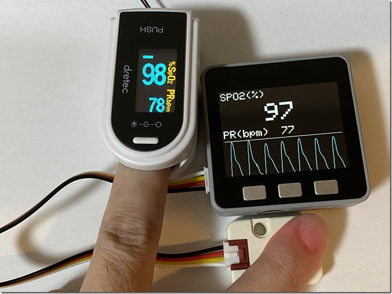 医療機器認証を受けているパルスオキシメーターと計測値を比較