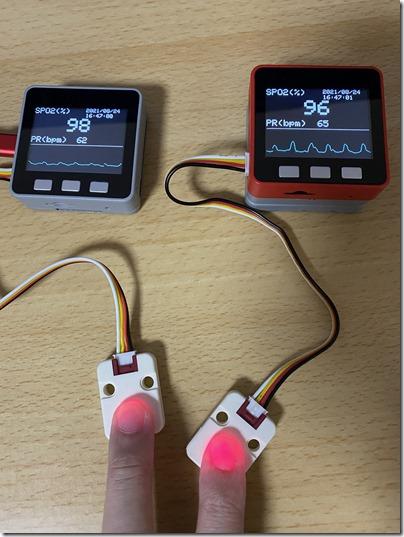 指の置き方や圧のかけ方で計測値が変わる例